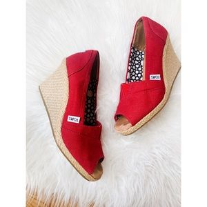 TOMS • Espadrille Canvas Wedge • Peep Toe